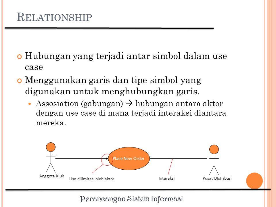 Relationship Hubungan yang terjadi antar simbol dalam use case