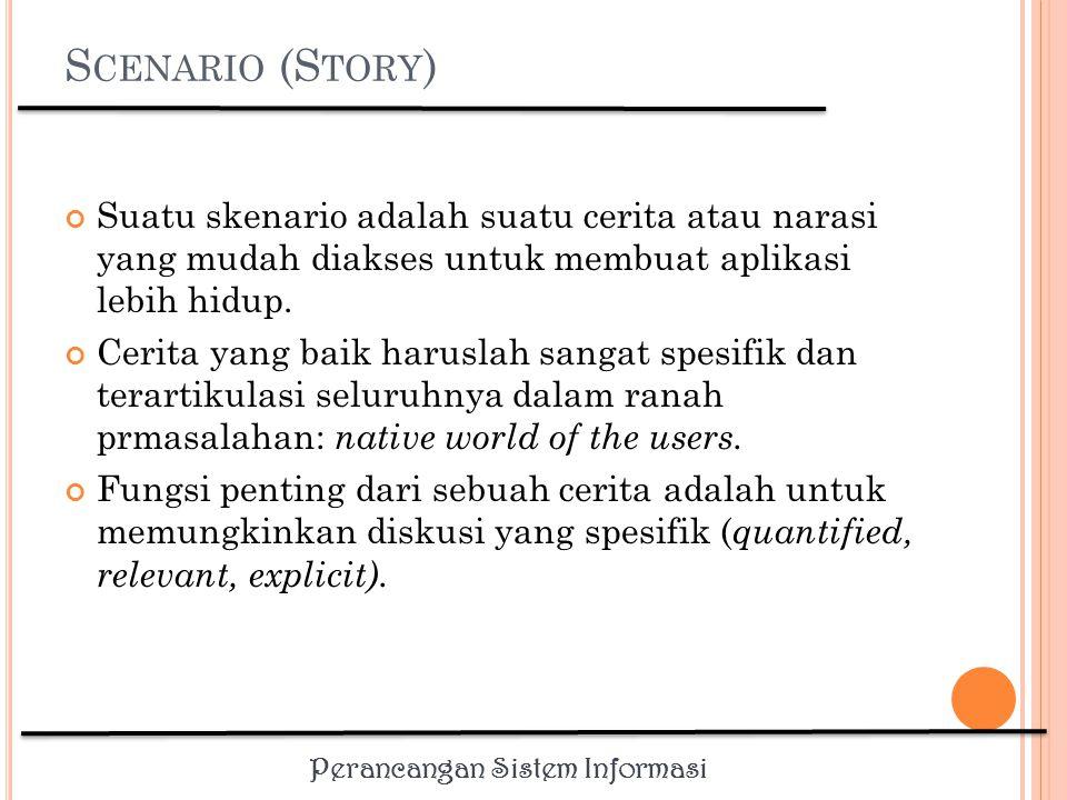 Scenario (Story) Suatu skenario adalah suatu cerita atau narasi yang mudah diakses untuk membuat aplikasi lebih hidup.