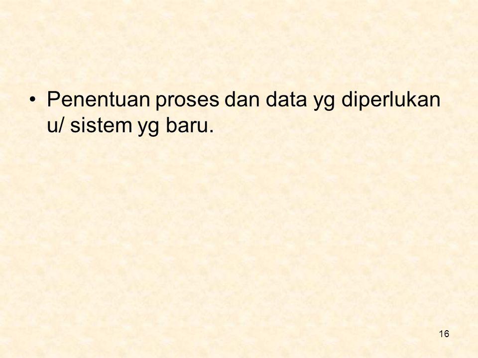 Penentuan proses dan data yg diperlukan u/ sistem yg baru.