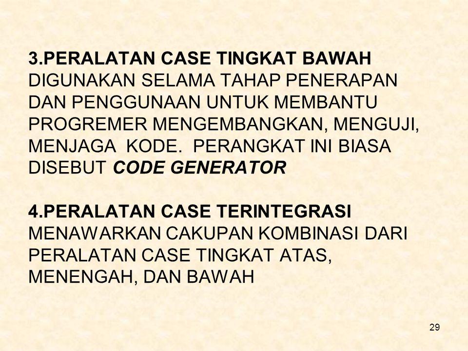 3.PERALATAN CASE TINGKAT BAWAH DIGUNAKAN SELAMA TAHAP PENERAPAN DAN PENGGUNAAN UNTUK MEMBANTU PROGREMER MENGEMBANGKAN, MENGUJI, MENJAGA KODE.