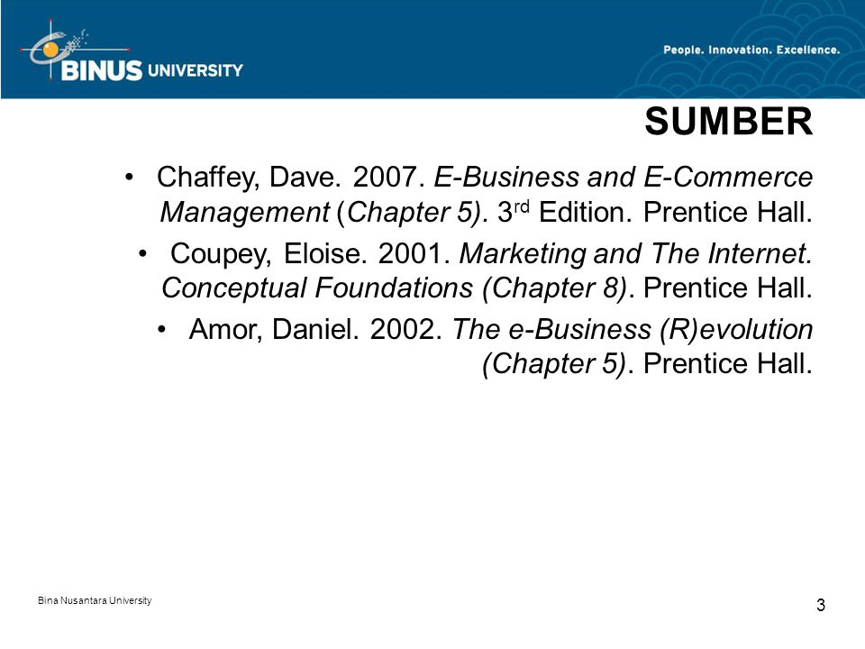 SUMBER Chaffey, Dave. 2007. E-Business and E-Commerce Management (Chapter 5). 3rd Edition. Prentice Hall.