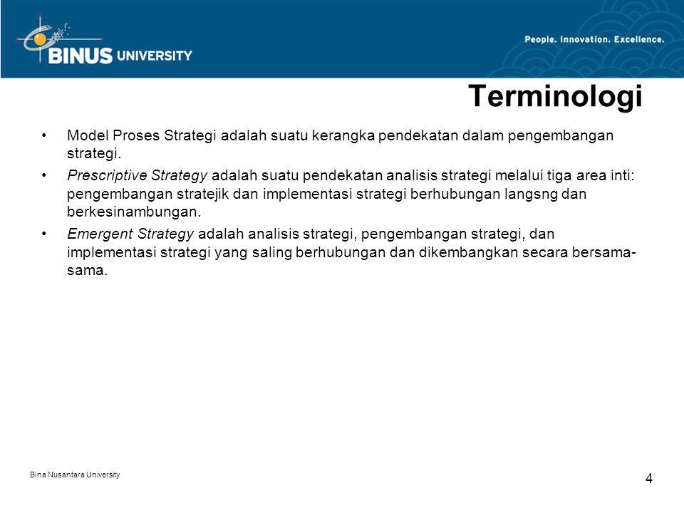 Terminologi Model Proses Strategi adalah suatu kerangka pendekatan dalam pengembangan strategi.