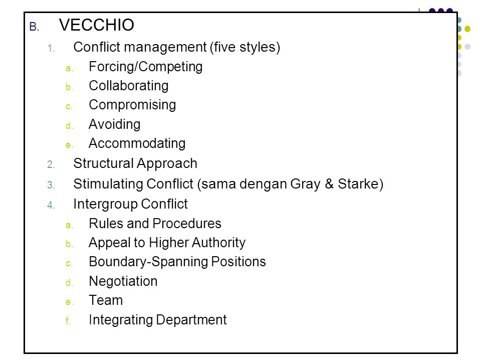 VECCHIO Conflict management (five styles) Structural Approach