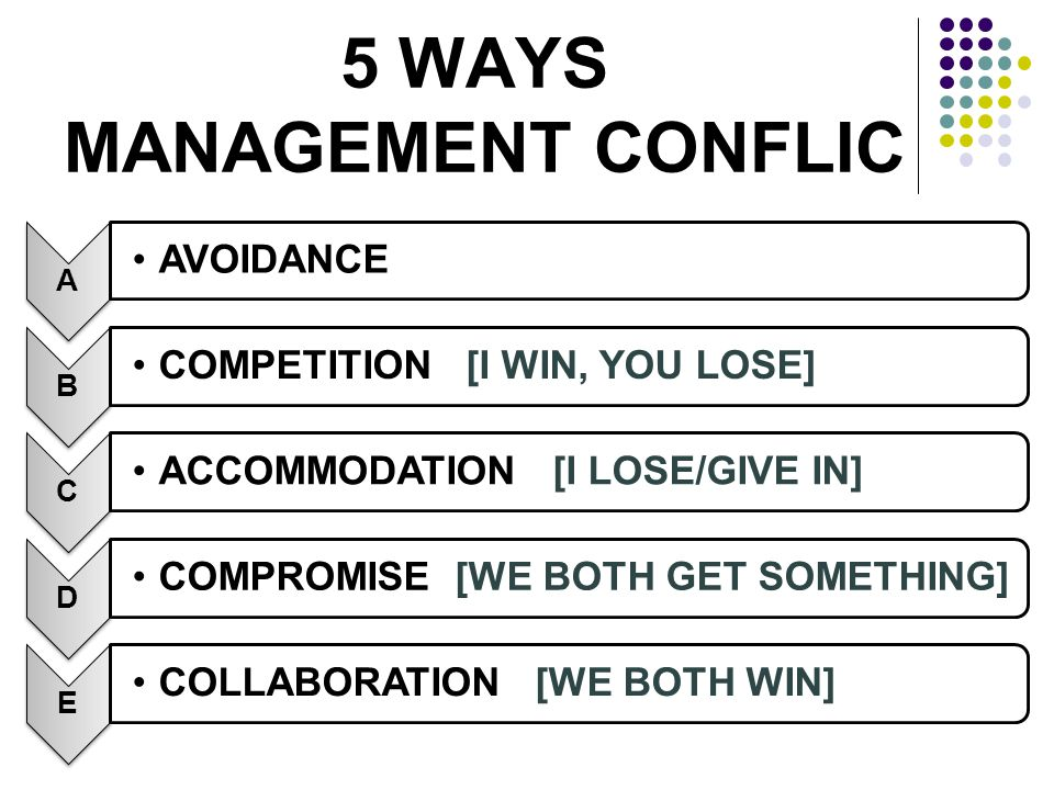 5 WAYS MANAGEMENT CONFLIC