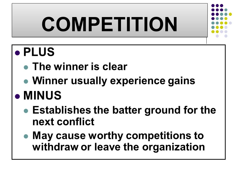 COMPETITION PLUS MINUS The winner is clear