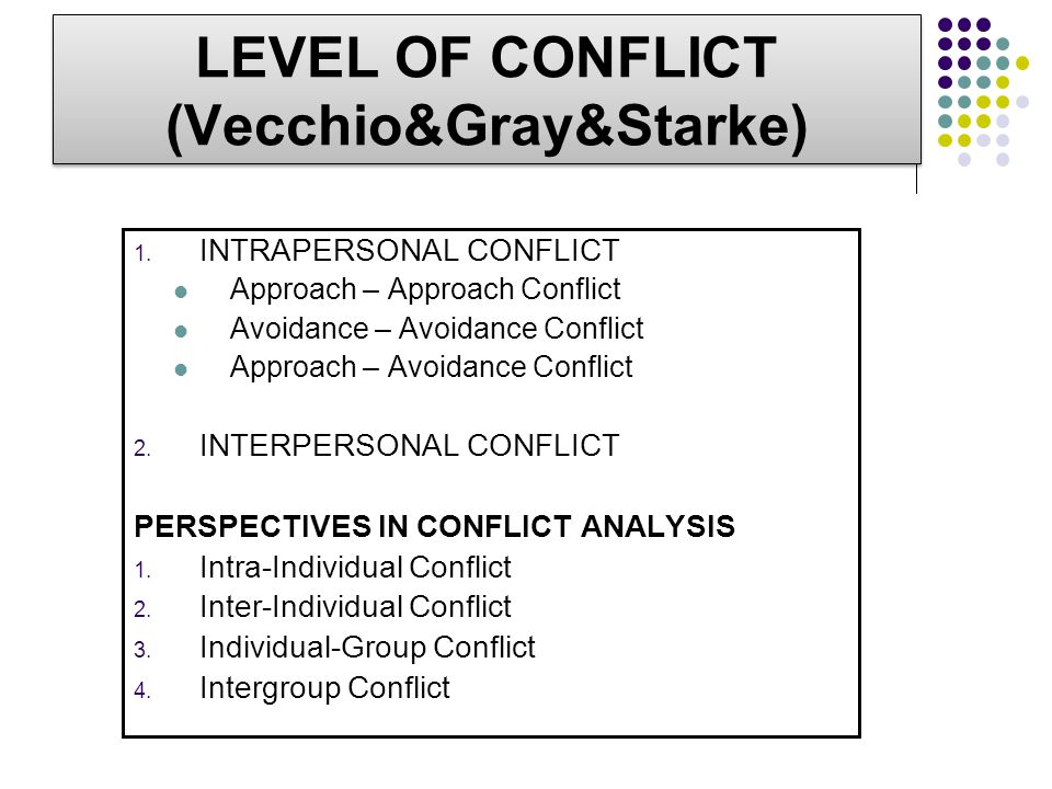 LEVEL OF CONFLICT (Vecchio&Gray&Starke)