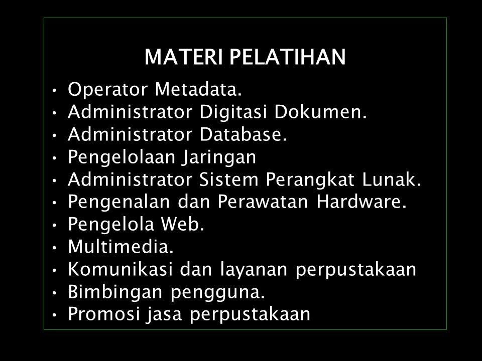 MATERI PELATIHAN Operator Metadata. Administrator Digitasi Dokumen.