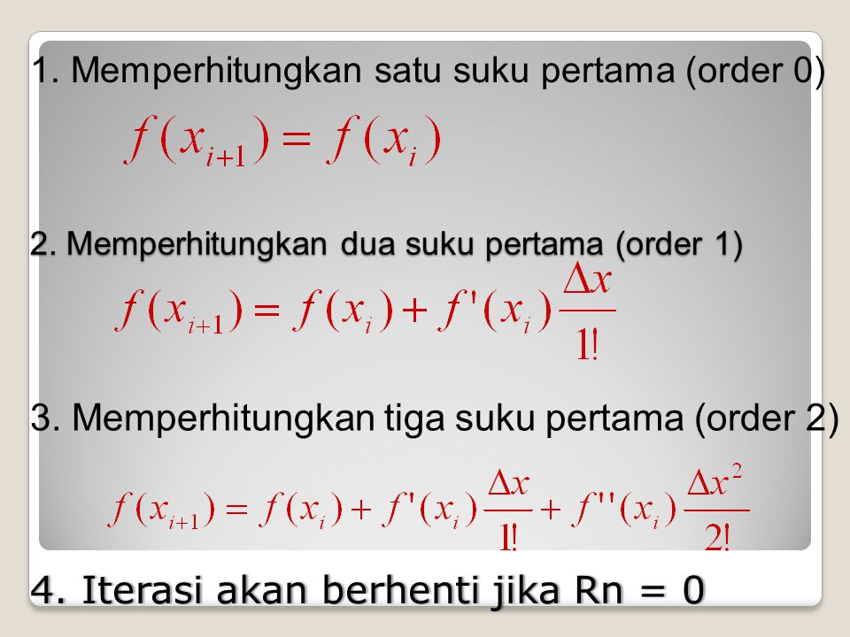 2. Memperhitungkan dua suku pertama (order 1)