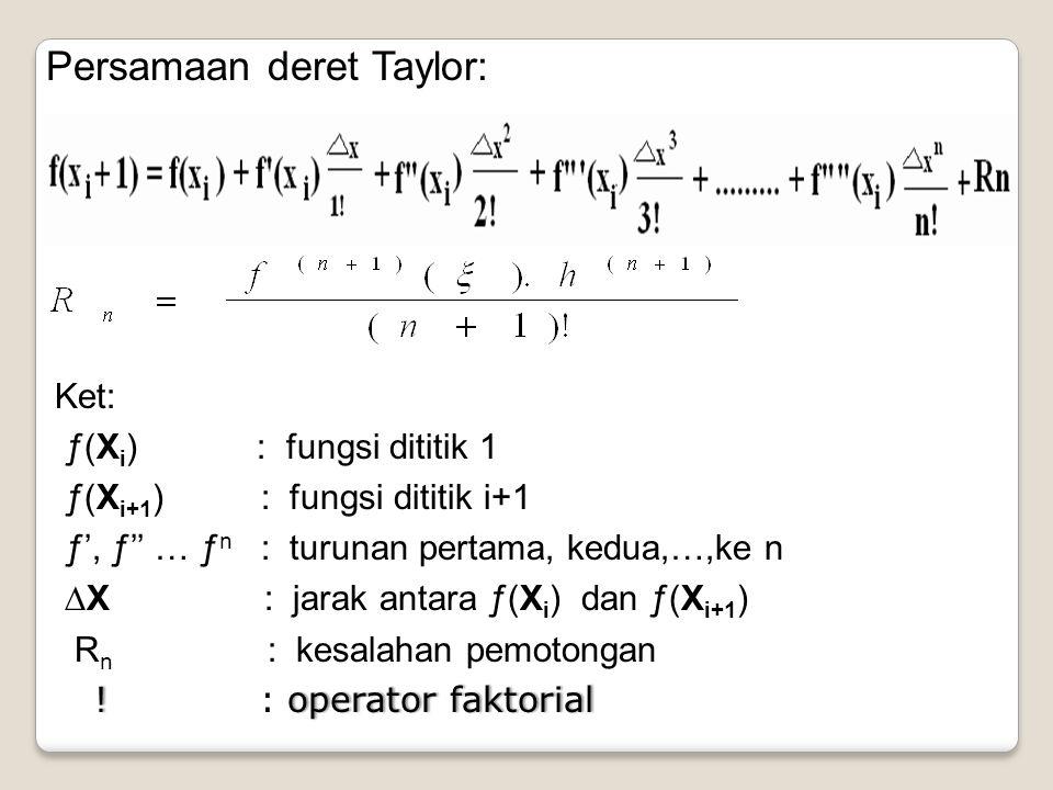 Persamaan deret Taylor: