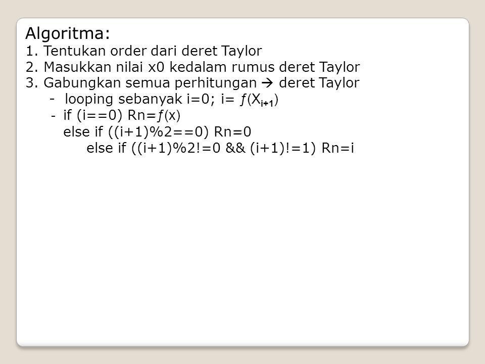 Algoritma: Tentukan order dari deret Taylor