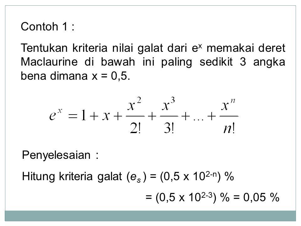 Contoh 1 : Tentukan kriteria nilai galat dari ex memakai deret Maclaurine di bawah ini paling sedikit 3 angka bena dimana x = 0,5.