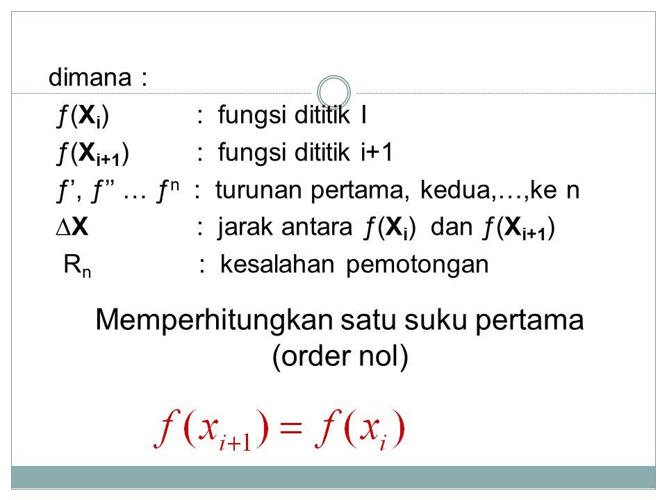 Memperhitungkan satu suku pertama (order nol)
