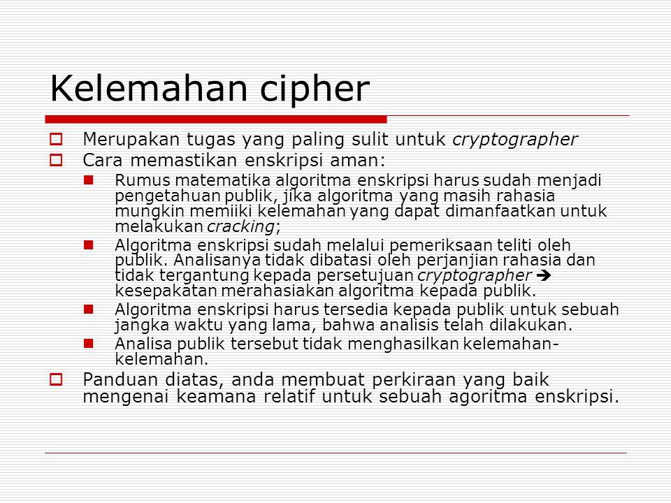 Kelemahan cipher Merupakan tugas yang paling sulit untuk cryptographer