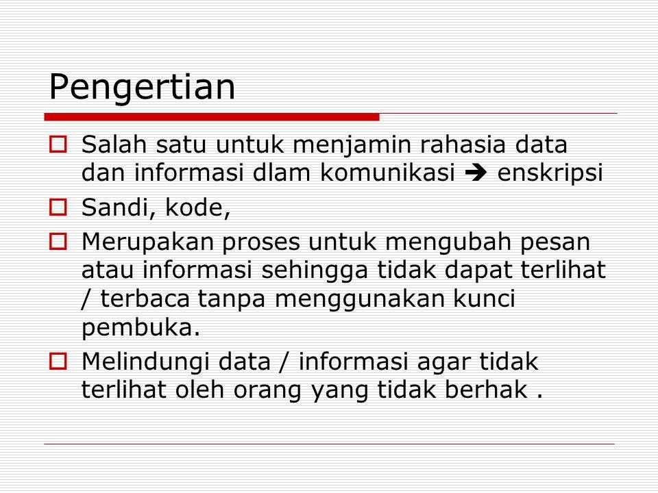 Pengertian Salah satu untuk menjamin rahasia data dan informasi dlam komunikasi  enskripsi. Sandi, kode,