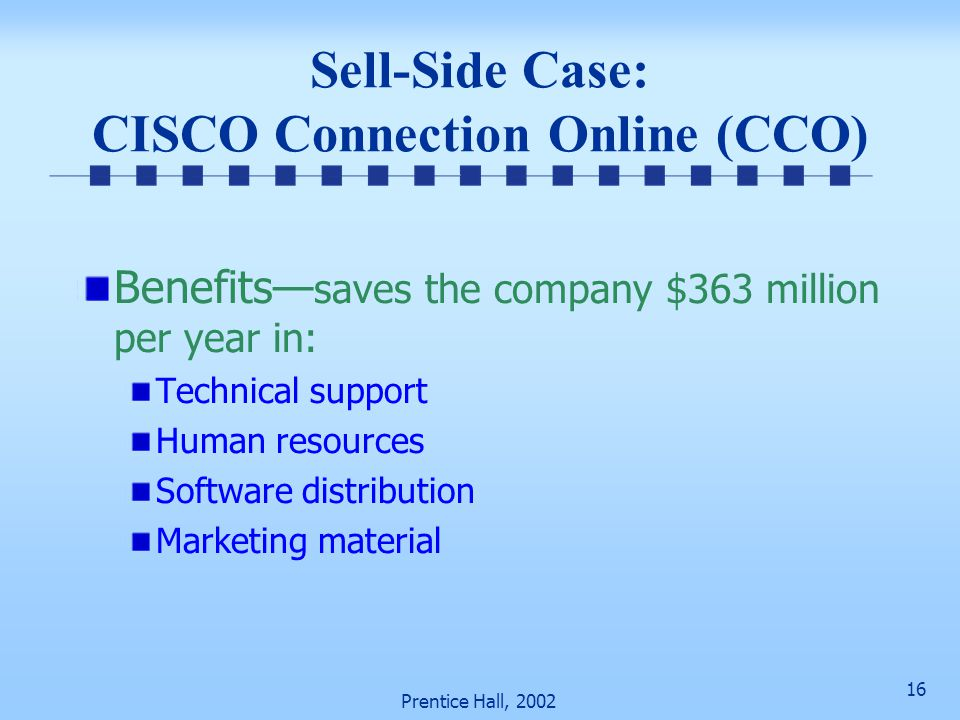 Sell-Side Case: CISCO Connection Online (CCO)