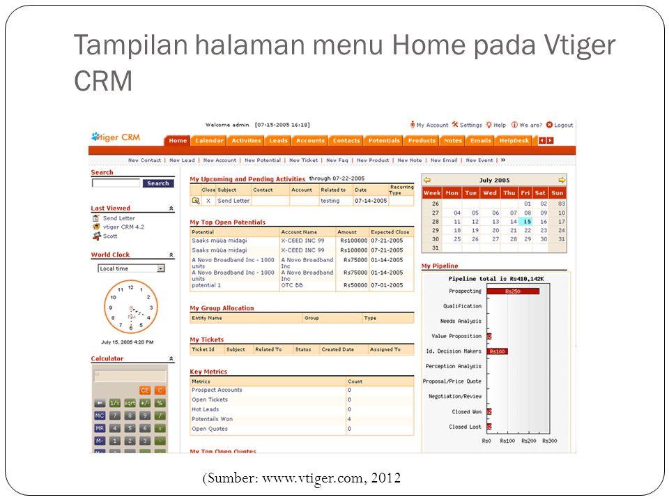 Tampilan halaman menu Home pada Vtiger CRM