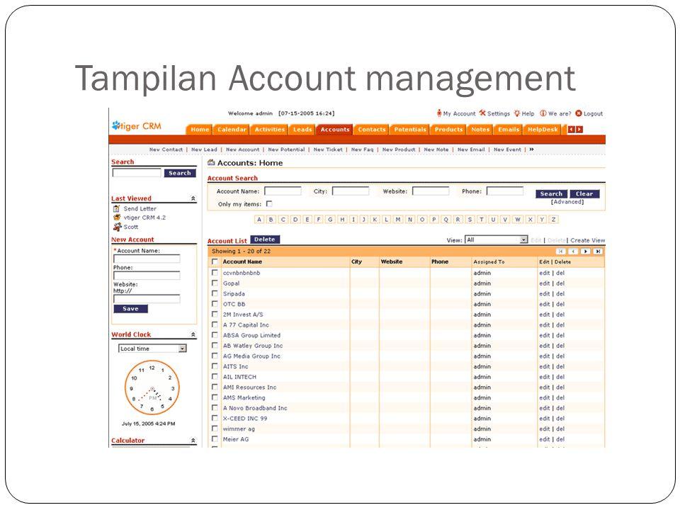Tampilan Account management