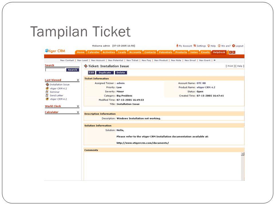 Tampilan Ticket