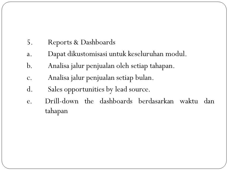 5. Reports & Dashboards a. Dapat dikustomisasi untuk keseluruhan modul. b. Analisa jalur penjualan oleh setiap tahapan.