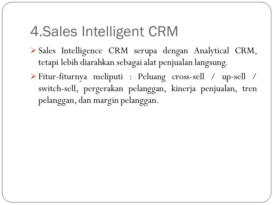4.Sales Intelligent CRM Sales Intelligence CRM serupa dengan Analytical CRM, tetapi lebih diarahkan sebagai alat penjualan langsung.
