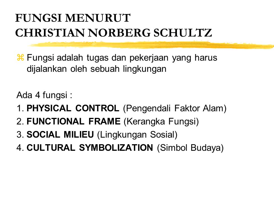 FUNGSI MENURUT CHRISTIAN NORBERG SCHULTZ
