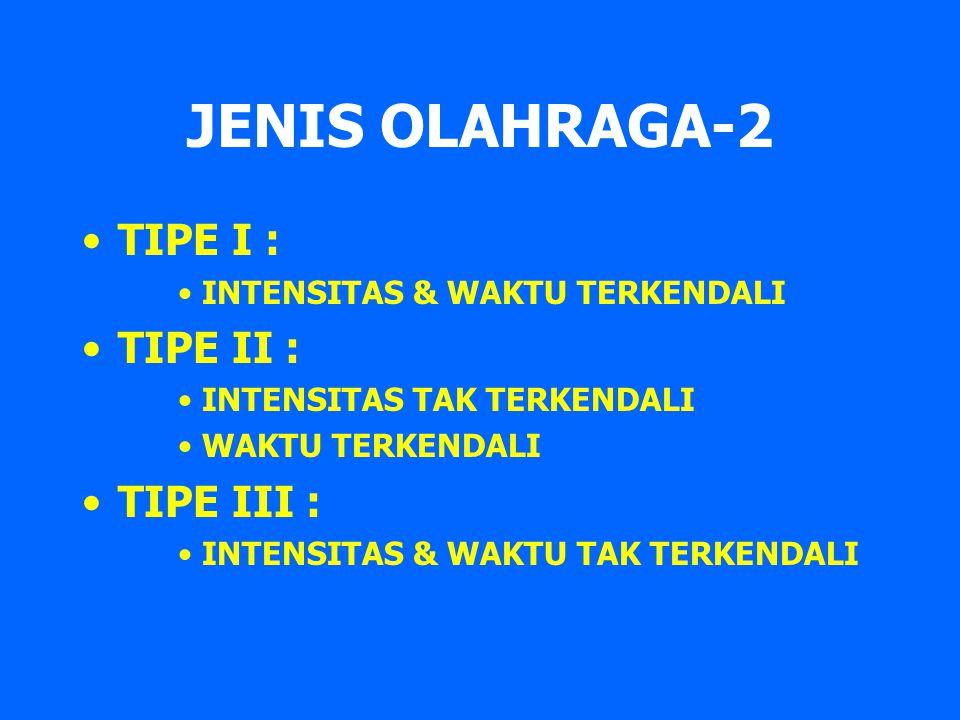 JENIS OLAHRAGA-2 TIPE I : TIPE II : TIPE III :