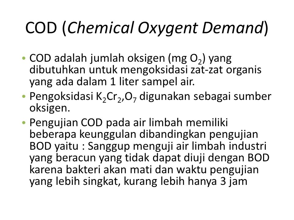 COD (Chemical Oxygent Demand)
