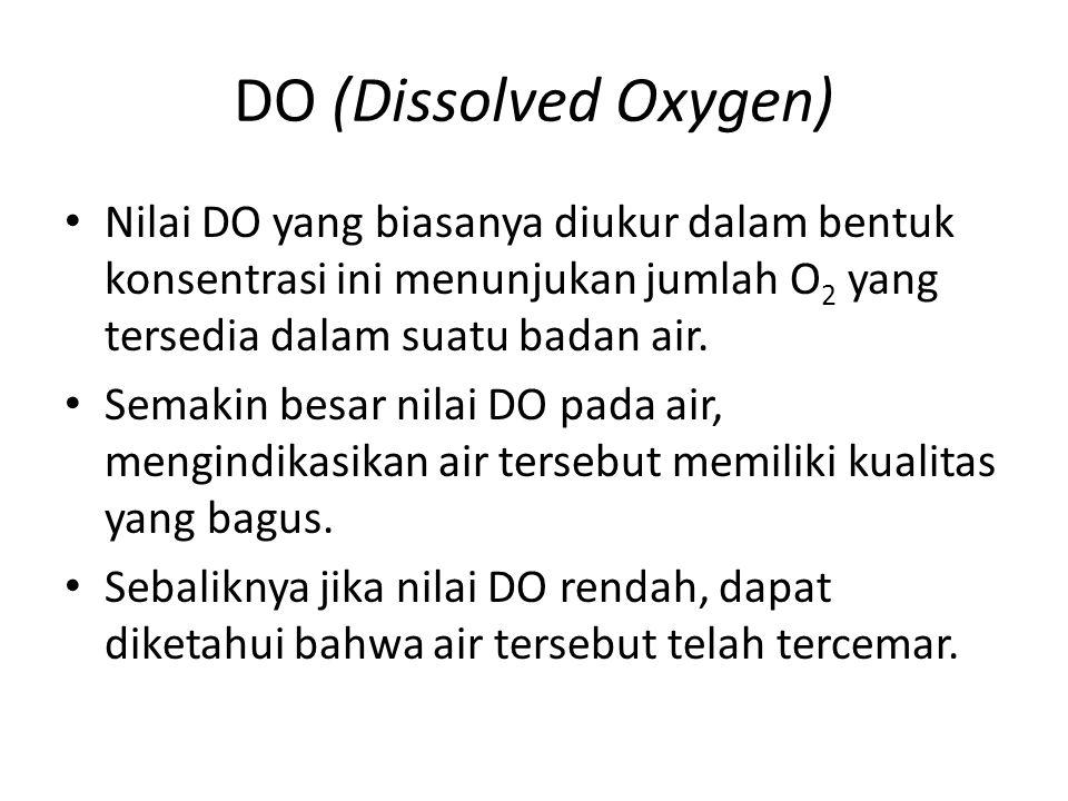 DO (Dissolved Oxygen) Nilai DO yang biasanya diukur dalam bentuk konsentrasi ini menunjukan jumlah O2 yang tersedia dalam suatu badan air.