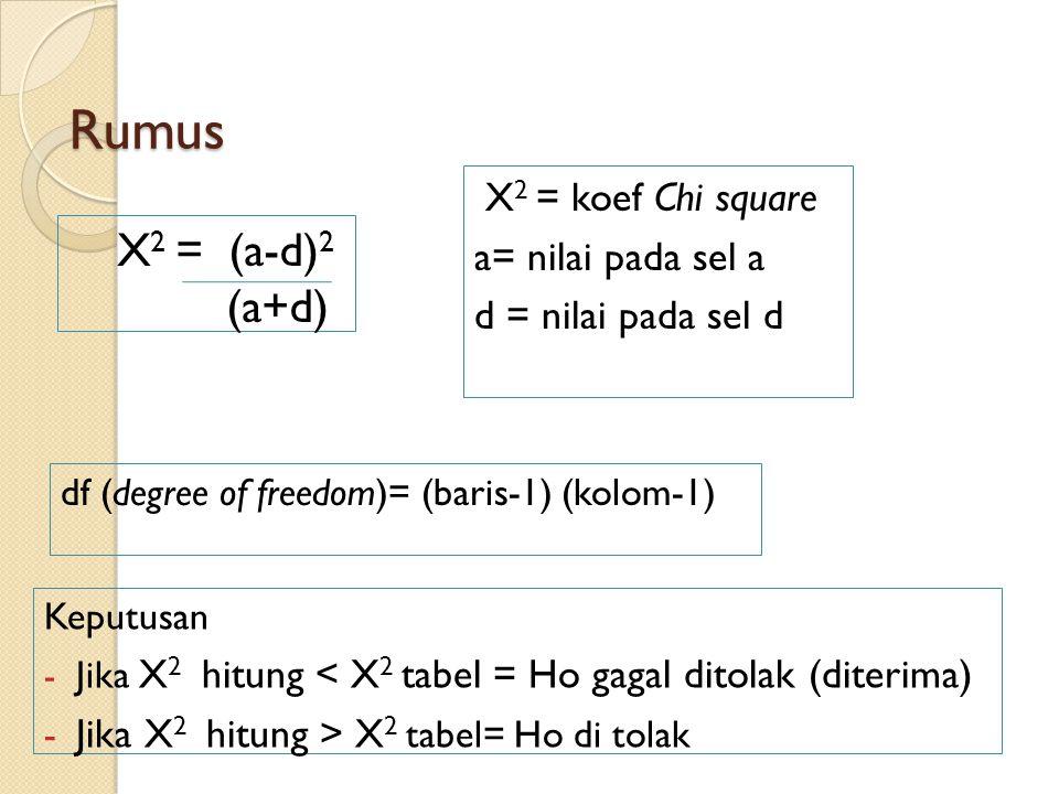 Rumus X2 = (a-d)2 (a+d) X2 = koef Chi square a= nilai pada sel a