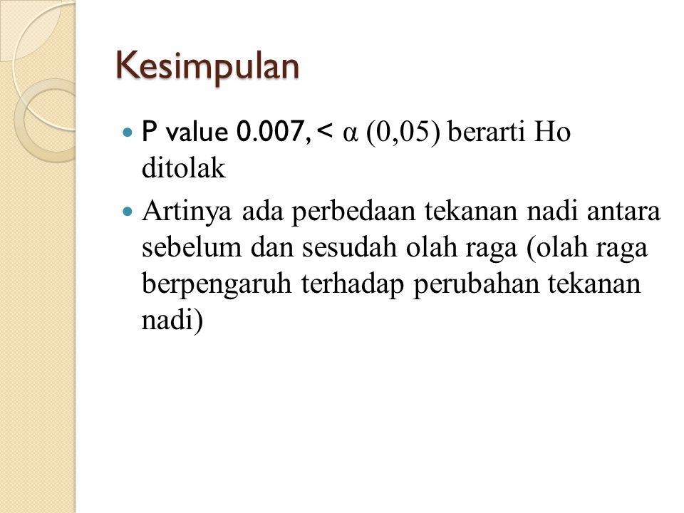 Kesimpulan P value 0.007, < α (0,05) berarti Ho ditolak