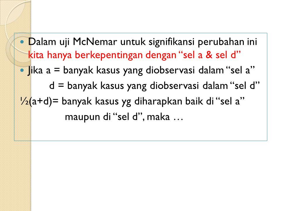 Dalam uji McNemar untuk signifikansi perubahan ini kita hanya berkepentingan dengan sel a & sel d