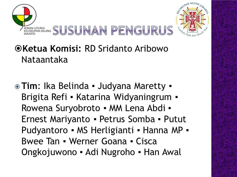 Susunan Pengurus Ketua Komisi: RD Sridanto Aribowo Nataantaka