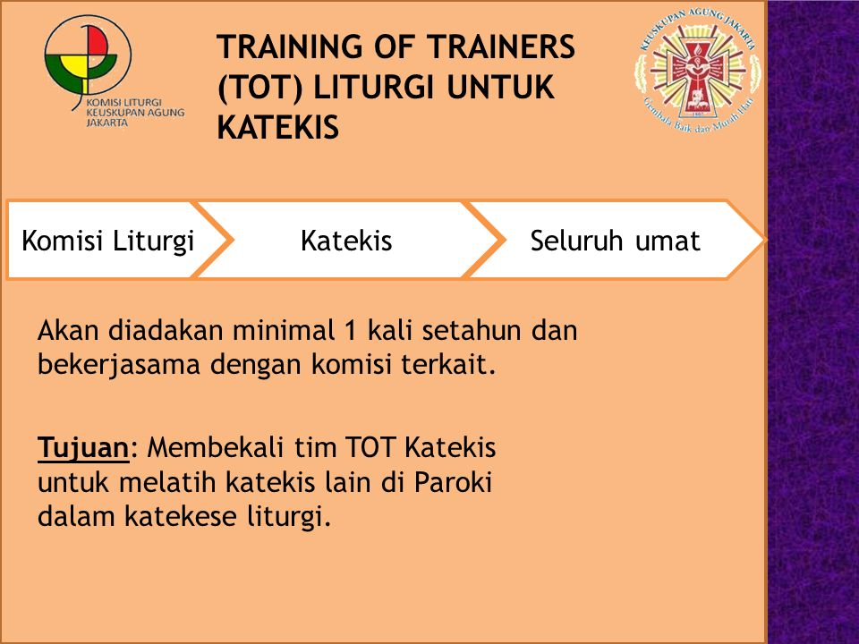 TRAINING OF TRAINERS (TOT) LITURGI UNTUK KATEKIS