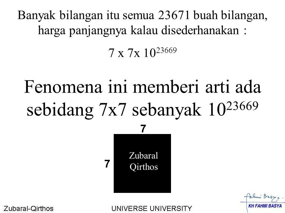 Fenomena ini memberi arti ada sebidang 7x7 sebanyak 1023669