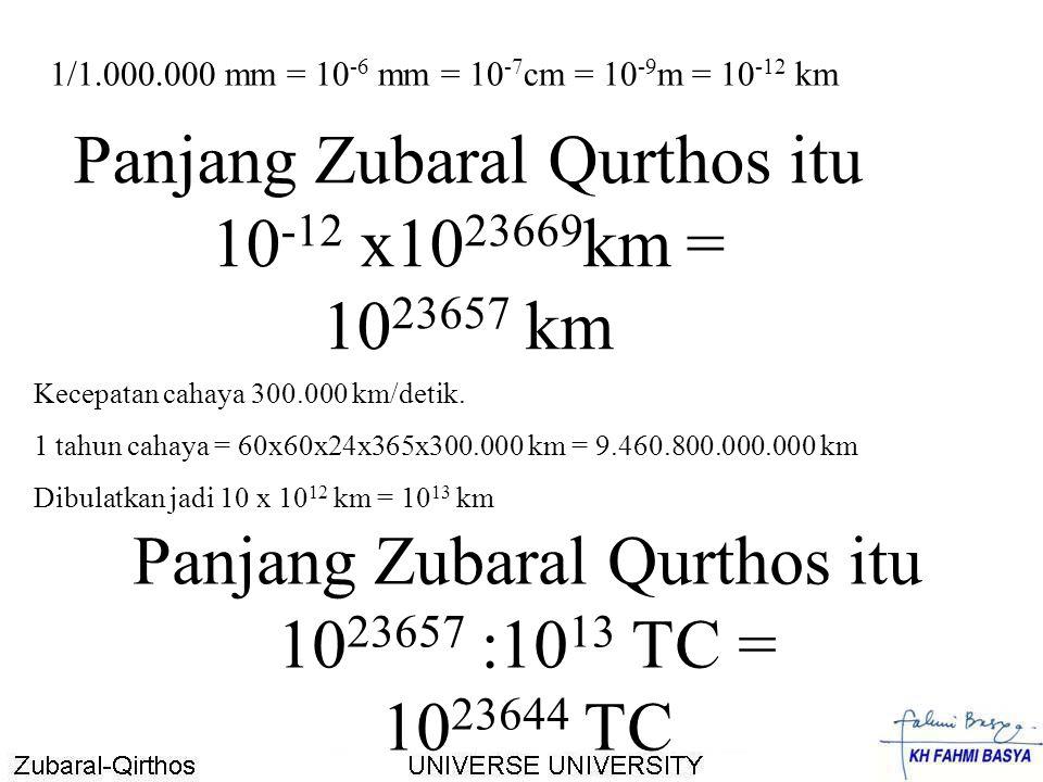 Panjang Zubaral Qurthos itu 10-12 x1023669km = 1023657 km