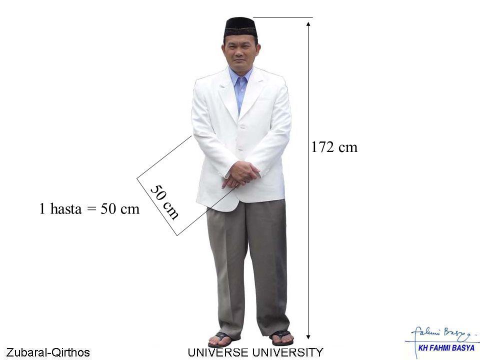 172 cm 1 hasta = 50 cm 50 cm