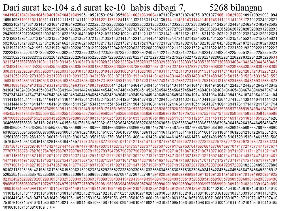 Dari surat ke-104 s.d surat ke-10 habis dibagi 7, 5268 bilangan
