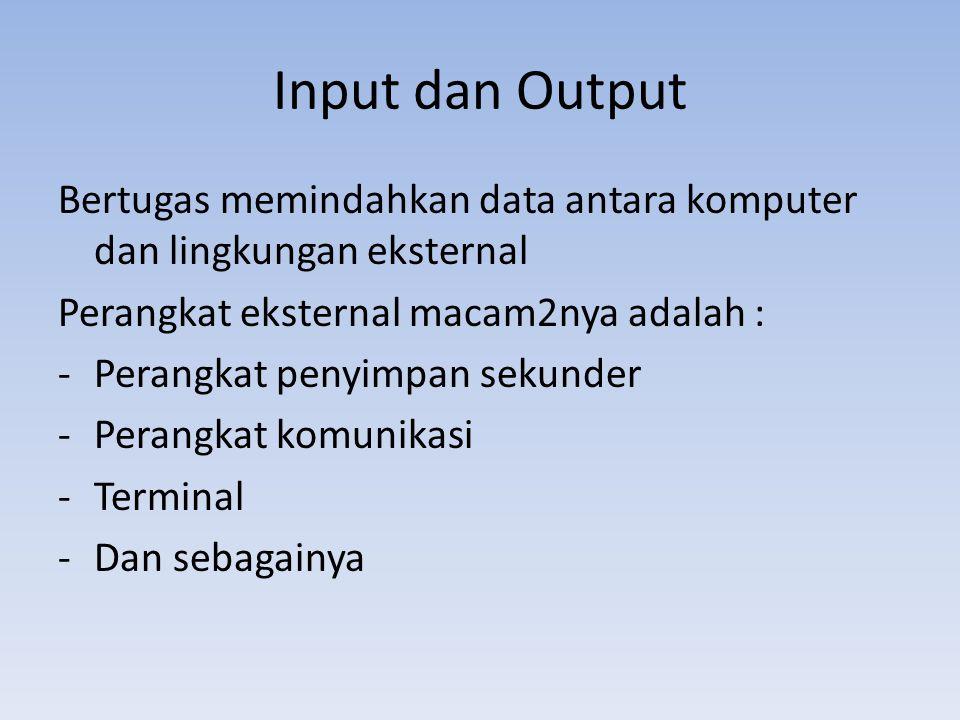 Input dan Output Bertugas memindahkan data antara komputer dan lingkungan eksternal. Perangkat eksternal macam2nya adalah :