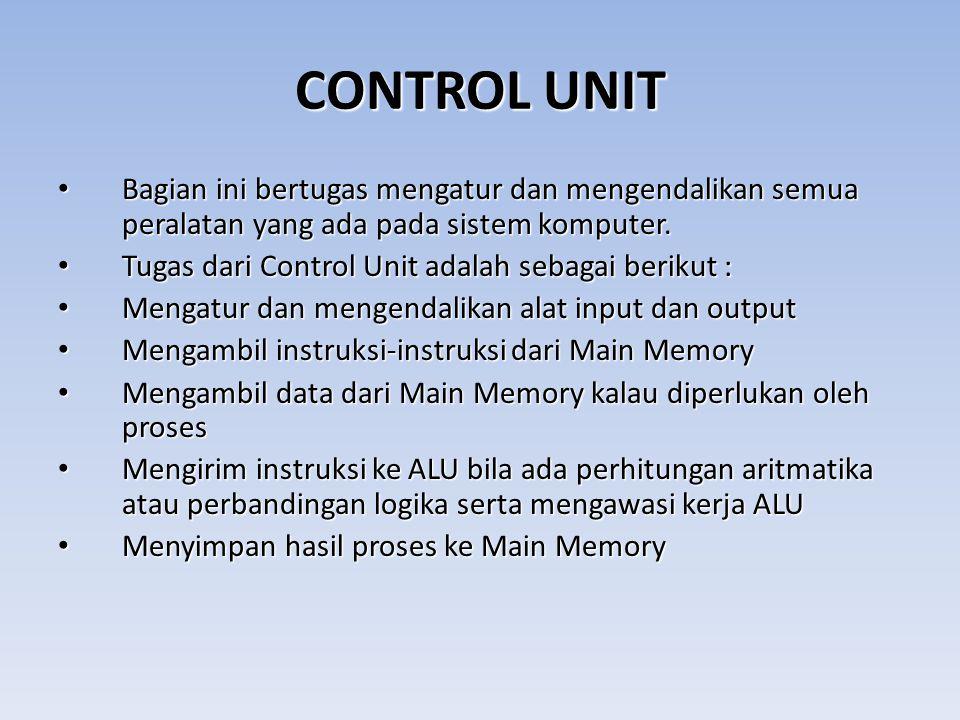 CONTROL UNIT Bagian ini bertugas mengatur dan mengendalikan semua peralatan yang ada pada sistem komputer.