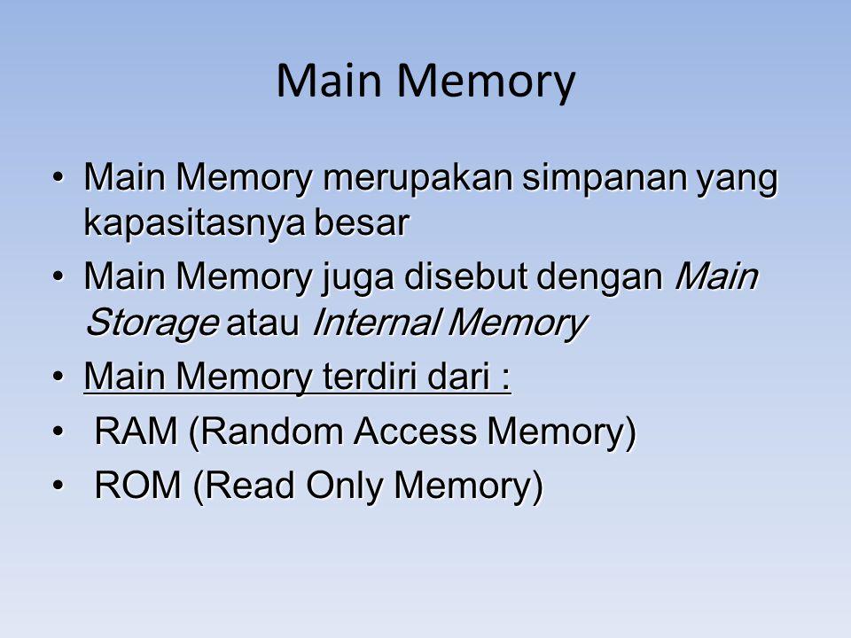 Main Memory Main Memory merupakan simpanan yang kapasitasnya besar