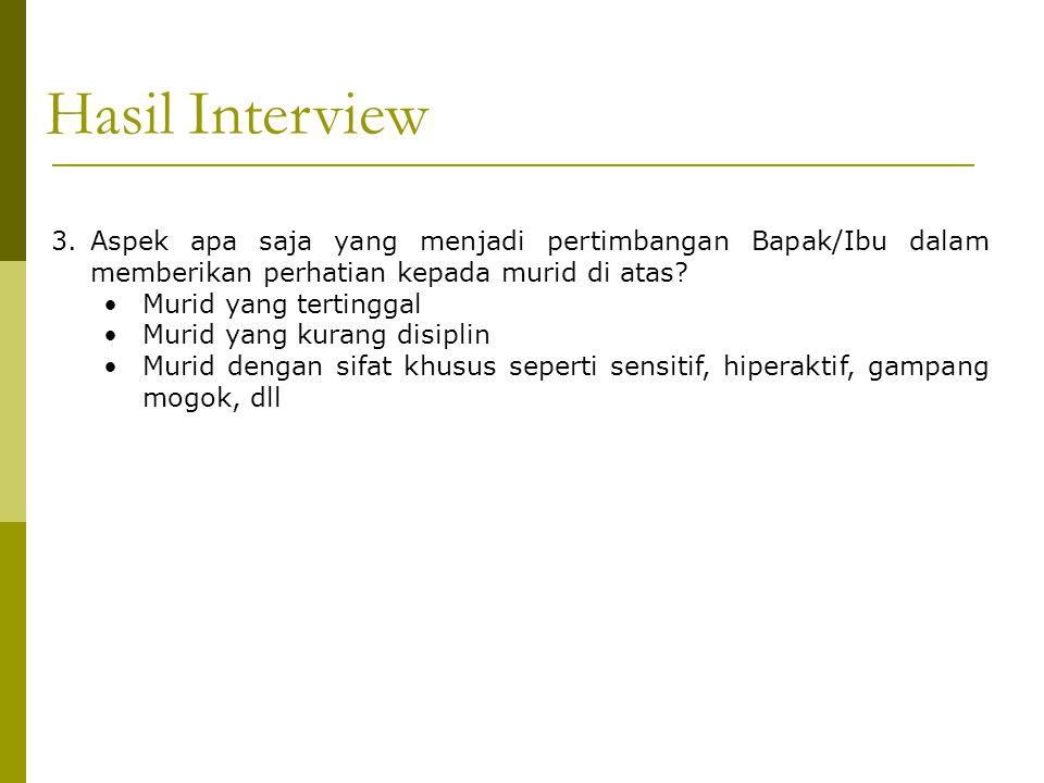 Hasil Interview A. Aspek apa saja yang menjadi pertimbangan Bapak/Ibu dalam memberikan perhatian kepada murid di atas