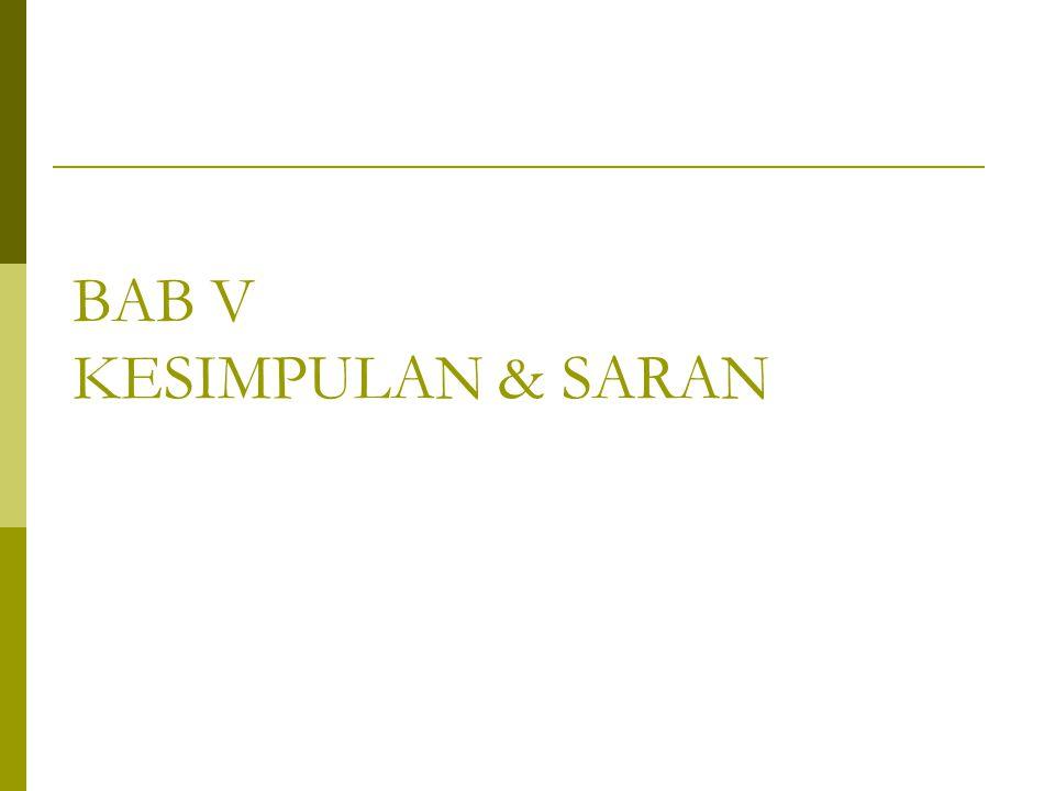 BAB V KESIMPULAN & SARAN