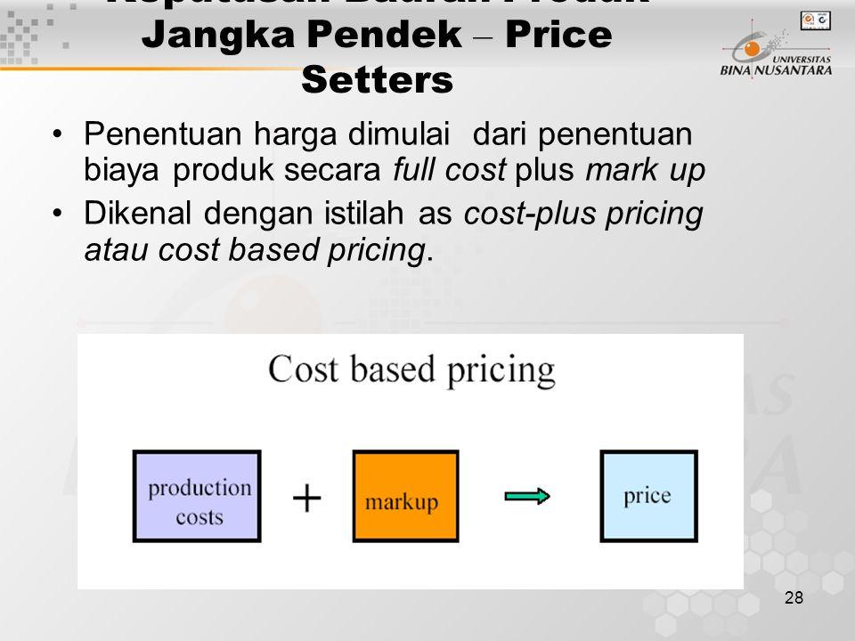 Keputusan Bauran Produk Jangka Pendek – Price Setters