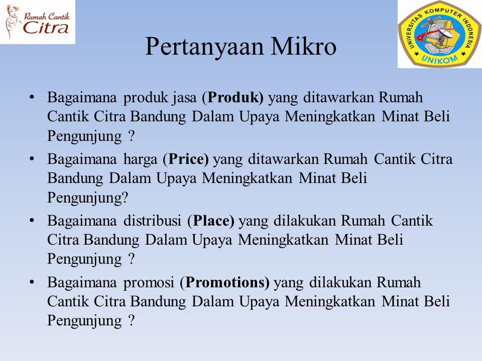 Pertanyaan Mikro Bagaimana produk jasa (Produk) yang ditawarkan Rumah Cantik Citra Bandung Dalam Upaya Meningkatkan Minat Beli Pengunjung