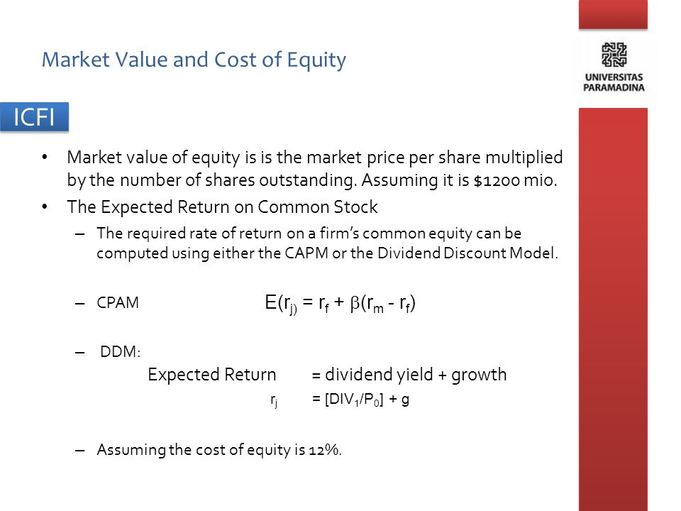 Market Value and Cost of Equity