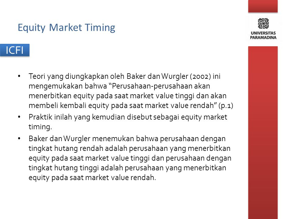 Equity Market Timing
