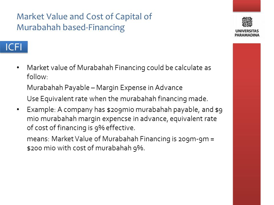 Market Value and Cost of Capital of Murabahah based-Financing