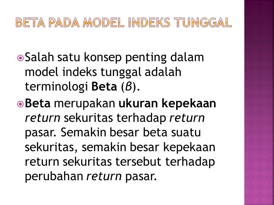 BETA PADA MODEL INDEKS TUNGGAL