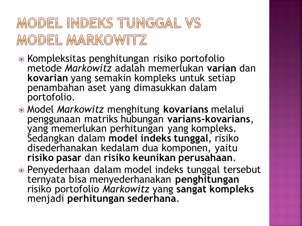 MODEL INDEKS TUNGGAL VS MODEL MARKOWITZ