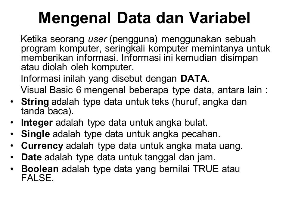 Mengenal Data dan Variabel